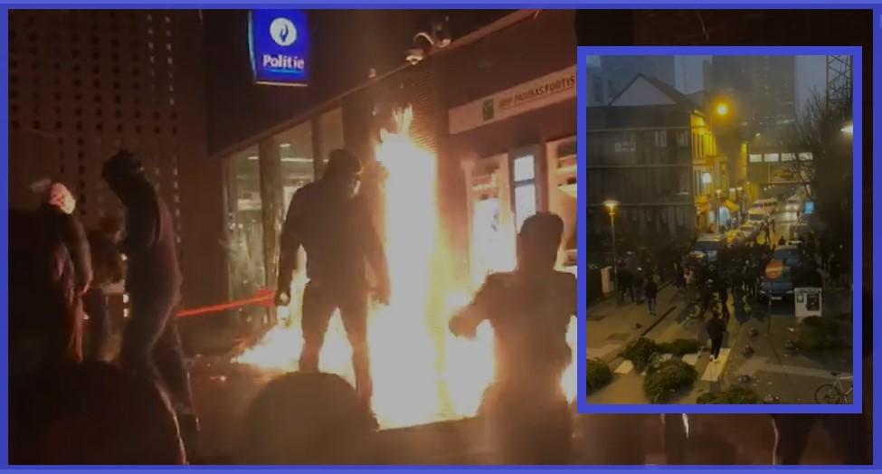 'Oorlogsgebied' Brussel: politieagente zwaargewond afgevoerd naar ziekenhuis, 112 aanhoudingen
