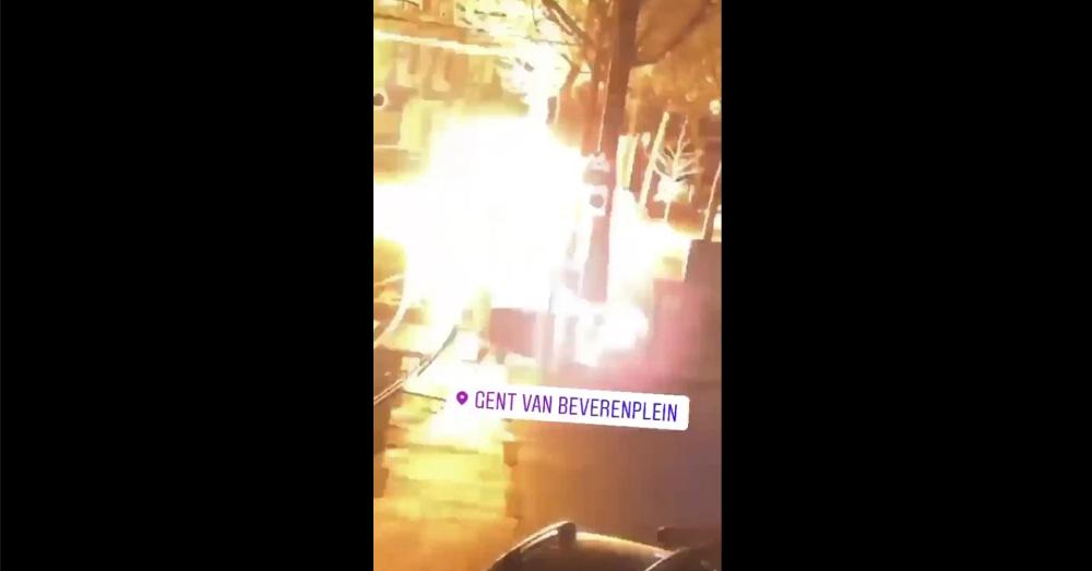 Gentse tramhalte opgeblazen met vuurwerk en brandversnellers