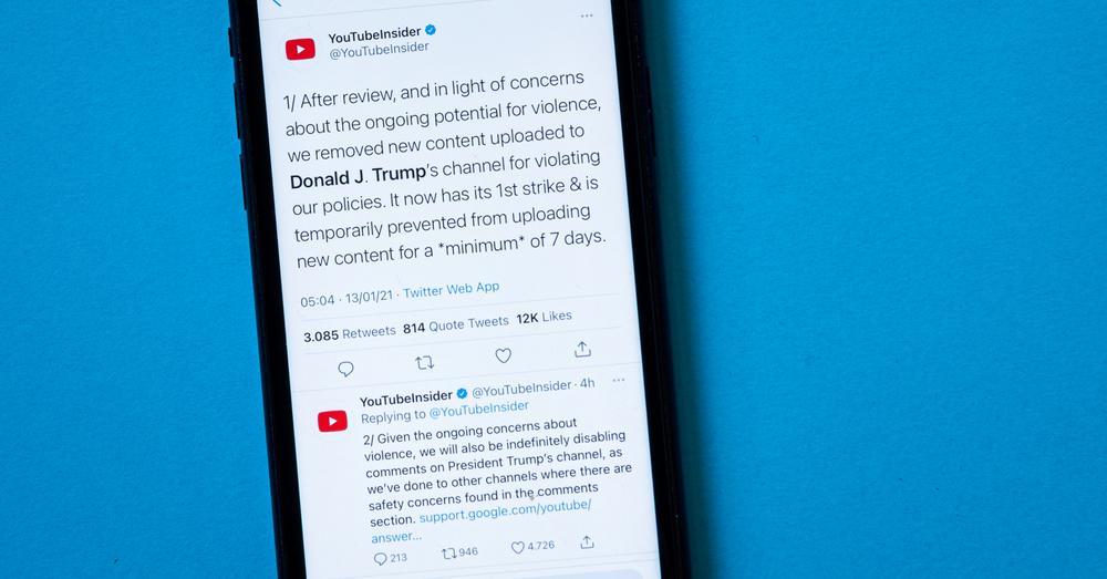 Ook YouTube schorst Trump